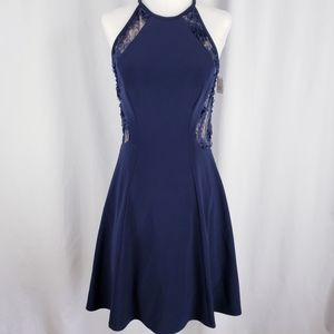 Xscape Lace Navy Halter Fit and Flare Mini Dress 2